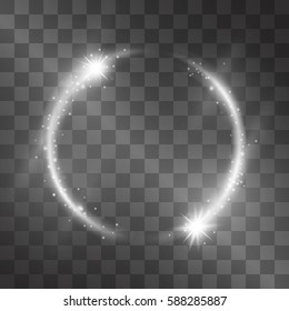 Vector light effect with circle frame. Silver white comet, glowing tail of shining stardust sparkles, winter illumination. Glistening energy ring flow in motion. Luxurious brilliantdesign element.