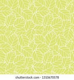 Vector light green leaves seamless pattern background. Perfect for fabric, scrapbooking, wallpaper projects.