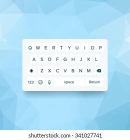 Vector light keyboard of smartphone, alphabet buttons