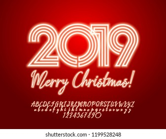 Vector light up Merry Christmas 2019 Greeting Card with Alphabet set of Letters, Symbols and Numbers. Neon Font.
