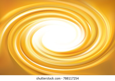 Vector light ocher whirl ripple backdrop with space for text. Beautiful curl fluid surface bright hot amber color. Circle mix of pure fresh sweet carrot, apricot, lemon dessert syrup as eddy caramel