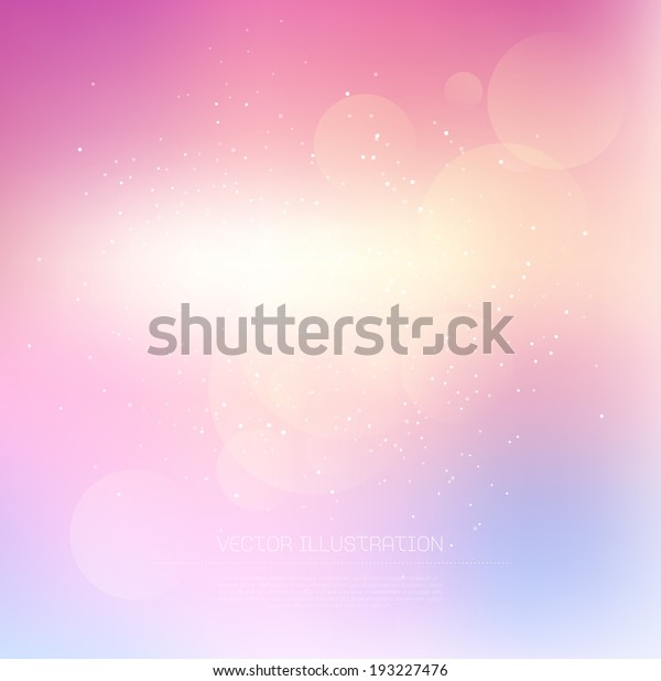 Vector light pink subtle blurry glowing bokeh background with glitter.