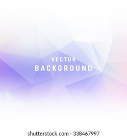 Vector light purple abstract polygonal background. Smooth edges on white