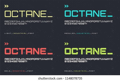 Vector light regular bold and rough industrial style display font, blocky typeface, futuristic uppercase letters and numbers, alphabet. Global swatches.
