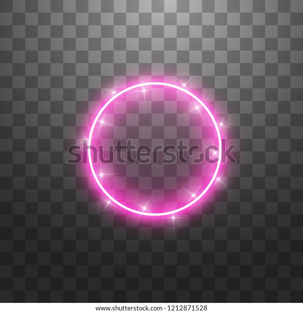 Vector light ring. Round shiny frame with lights dust trail particles isolated on transparent background.