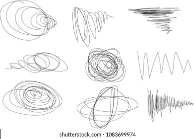 Vector light set of hand drawn scribble line shapes. Scribble brush strokes set. Logo design elements. Chaos doodle pattern. Vector illustration Isolated on white background