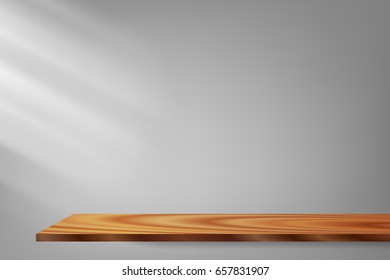 vector light and shadow, wood shelf gray background, illustration white interior abstract background