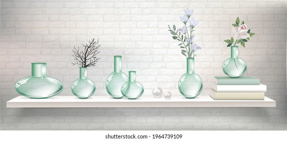 Vector light shelf with books, plants and branches in glass transparent vases and empty vases for interior design. Vector mockup for interior with shelves and light brick wall