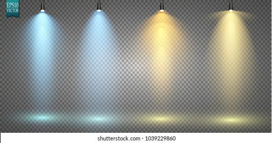 Vector light sources, concert lighting, stage spotlights set. Concert spotlight with beam, illuminated spotlights for web design illustration