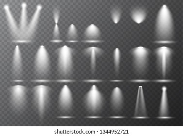 Vector light sources, concert lighting, stage beam spotlights set  lens flash effect. Spot lamp projection studio for podium, club, show, scene illuminated. Floodlight on transparent background.