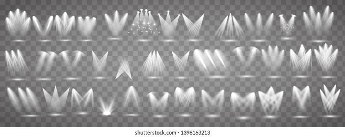 Vector light sources, concert lighting, stage spotlights set.