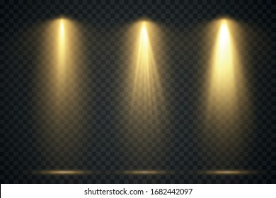 Vector light sources, concert lighting, stage projector set. Concert spotlight with beam, illuminated spotlights for web design and publishing