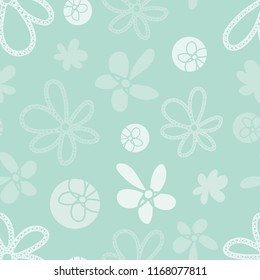 Vector light turquoise and fresh white  Garden Tea Party floral coordinate seamless pattern background. Perfect texture for fabric, scrapbooking, giftwrap,  wall paper projects, stationary, quilting
