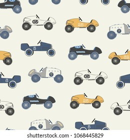 Vector light vintage race cars seamless repeat pattern. Perfect for fabric, wallpaper, wrapping paper and stationery projects.