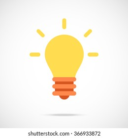 Vector lightbulb icon. Modern flat design vector illustration concept for web banner, web and mobile apps, web sites, printed materials, infographics. Vector icon isolated on gradient background