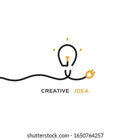 Vector lightbulb line logo design