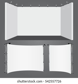 Vector lighted plasterboard and display stand ready for use as trade booth mockup elements