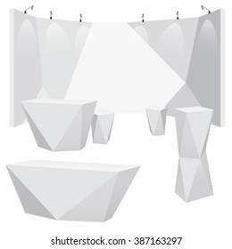 Vector lighted polygon trade booth with futuristic polygon furniture