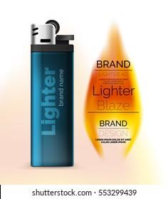 Vector lighter ad template with orange flame, blank branding packaging mockup for design