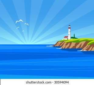 Vector lighthouse by day