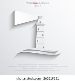 Vector lighthouse flat icon illustration.