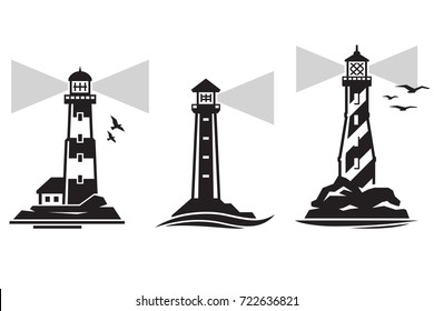 Vector lighthouse icon with ocean waves and seagulls