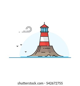 Vector lighthouse landscape. Lighthouse icon