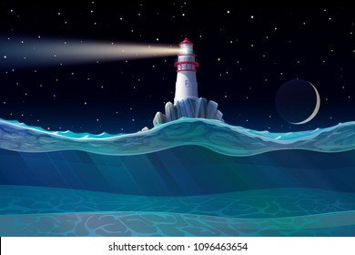 vector Lighthouse, light house, beacon on rock. Sea ocean seascape, landscape. Underwater, undersea panorama view. Night starry sky background. Nautical, maritime, marine, naval, navy illustration.