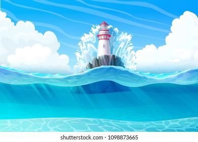 vector Lighthouse, light house, beacon, rock, wave splash.