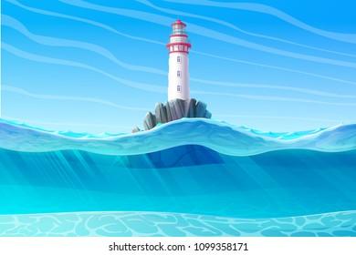 vector Lighthouse, light house, beacon, rock, wave, seagulls. Sea ocean seascape, landscape. Underwater, undersea panorama view. Sunny day background. Nautical, maritime, marine, naval illustration 4