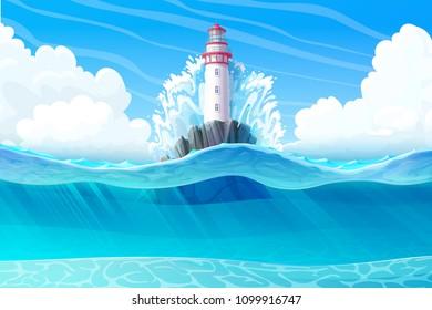 vector Lighthouse, light house, beacon, rock, wave splash. Sea ocean seascape, landscape. Underwater, undersea panorama view. ?loudy day background. Nautical, maritime, marine, naval illustration 3