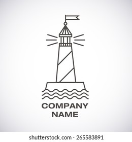 Vector lighthouse logo, modern line icon