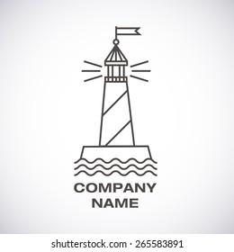 Vector lighthouse logo, modern line icon