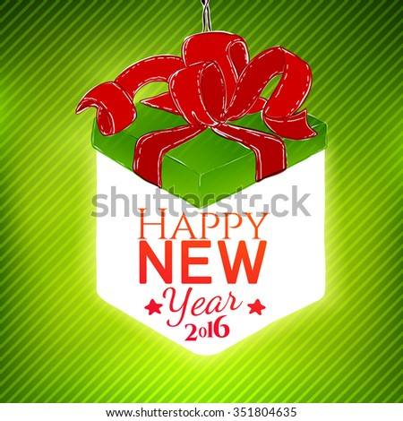 vector lighting gift box illustration with new year greetings celebration design holidays card for