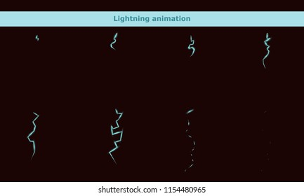 Vector lightning animation frames for game or cartoon effect in video, presentation, poster, banner, ads. Vector illustration