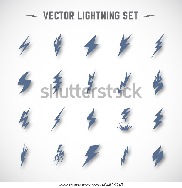 Vector Lightning Bolt Blizzard Icon Set Stock Vector (Royalty Free