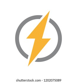 Vector lightning bolt with circle logo. Unique thunder and flash digital symbol or icon
