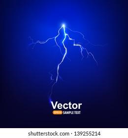 Vector lightning bolt at night.