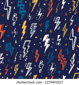 Vector Lightning Bolts Signs Seamless Pattern. Repeating  Background with Hand Drawn Doodle Thunderbolts. Thunder bolt wallpaper