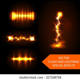 Vector lightning and flash special effects