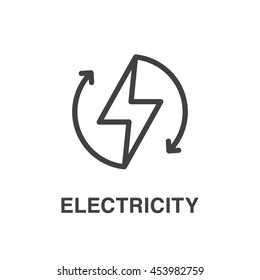 Vector lightning line art icon. Electricity icon.