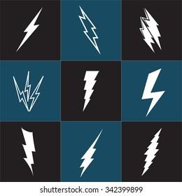 Vector lightning silhouette. Lightning Bolt icon. Set of black icons storm lightning. Thunderbolt silhouettes. Set of Thunder Lighting Icons. Lightning bolt vector. Lightning strike icon. Easy to use.