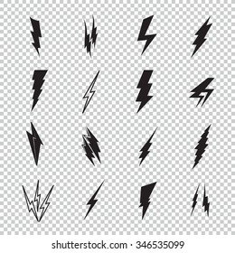 Vector lightning silhouette. Lightning Bolt icon. Set of black icons storm lightning. Thunderbolt silhouettes. Set of Thunder Lighting Icons. Lightning bolt vector. Lightning strike icon.