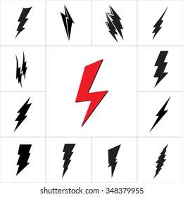 Vector lightning silhouette. Lightning Bolt icon. Set of black icons storm lightning. Thunderbolt silhouettes.  Lightning bolt vector. Lightning strike icon. Easy to use.
