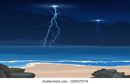 Vector lightning and thunderstorm at sea. Tropical calm sea and a sand beach before the storm vector background.