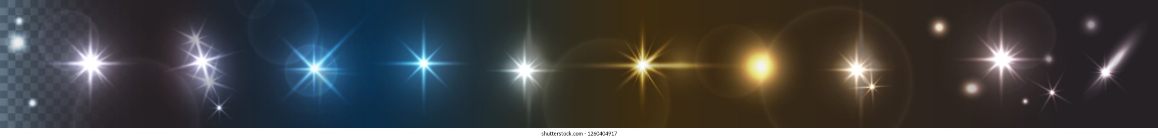 Vector lights, stars or twinkles with camera lens effects. Set of flash light, flare, glowing sparkles, spot or starlight isolated on dark transparent background
