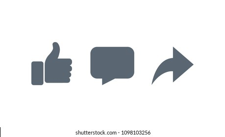 Vector like comment share icon set.
