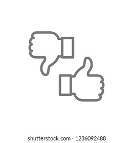 Vector like, dislike, thumbs up and down, feedback line icon. Symbol and sign illustration design. Isolated on white background