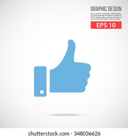 Vector like icon. Blue icon pictogram. Modern flat design vector illustration, quality concept for web banners, web and mobile applications, infographics. Vector icon isolated on gradient background