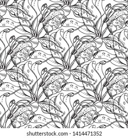 Vector lily flovers. Seamless background pattern